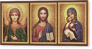 Icons Tryptichon Wood Print by Ananda Vdovic