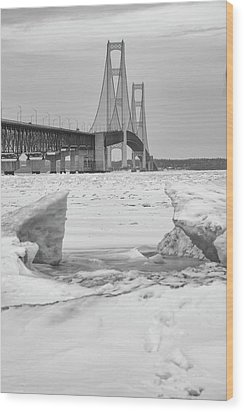 Wood Print featuring the photograph Icy Black And White Mackinac Bridge  by John McGraw