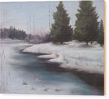 Wood Print featuring the painting Icy Blue by Diane Daigle
