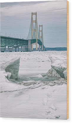 Wood Print featuring the photograph Icy Day Mackinac Bridge  by John McGraw
