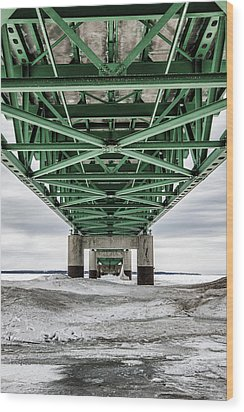Wood Print featuring the photograph Icy Mackinac Bridge In Winter by John McGraw