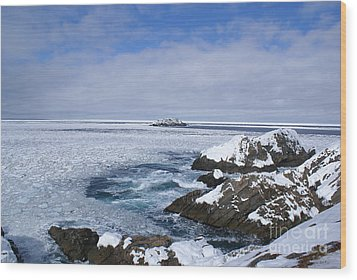Icy Ocean Slush Wood Print by Annlynn Ward