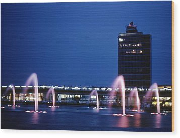 Wood Print featuring the photograph Idlewild Fountain And Tower by John Schneider