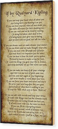 If By Rudyard Kipling - Long Parchment Style  Wood Print