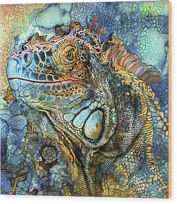 Wood Print featuring the mixed media Iguana - Spirit Of Contentment by Carol Cavalaris