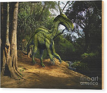 Iguanodon In The Jungle Wood Print by Frank Wilson