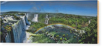 Iguazu Panorama Wood Print by David Gleeson