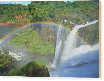 Iguazu Rainbow Wood Print