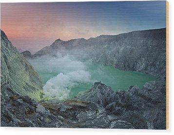 Ijen Crater Wood Print by Alexey Galyzin