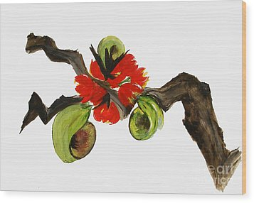 Ikebana - Red N Green Wood Print by Sibby S
