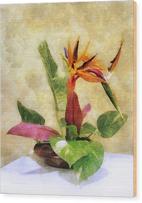 Ikebana Bird Of Paradise Wood Print by Francesa Miller