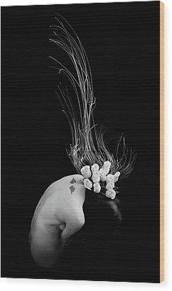 Ikebana2 Wood Print by Mayumi Yoshimaru