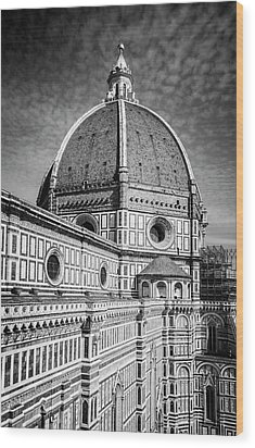 Wood Print featuring the photograph Il Duomo Florence Italy Bw by Joan Carroll