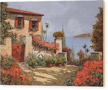 Il Giardino Rosso Wood Print by Guido Borelli