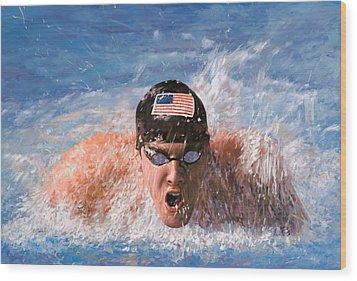 Il Nuotatore Wood Print by Guido Borelli