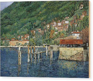 il porto di Bellano Wood Print by Guido Borelli