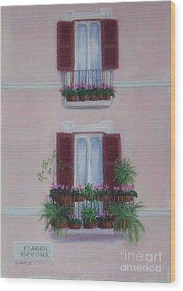 Il Terrazo In Roma  Piazza Navona Wood Print by Mary Erbert