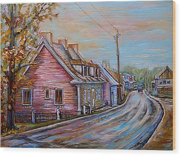 Iles D'orleans Quebec Village Scene Wood Print by Carole Spandau