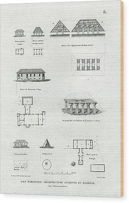 Wood Print featuring the drawing Iles Mariannes Architecture Ancienne Et Moderne by E Olivier