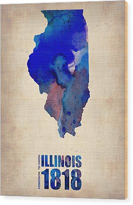 Illinois Watercolor Map Wood Print by Naxart Studio
