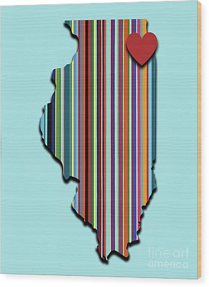 Wood Print featuring the mixed media Illinois With Love Geometric Map by Carla Bank