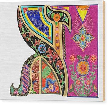Illuminated Aleph Wood Print