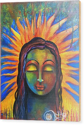 Wood Print featuring the mixed media Illuminated By Her Own Radiant Self by Prerna Poojara