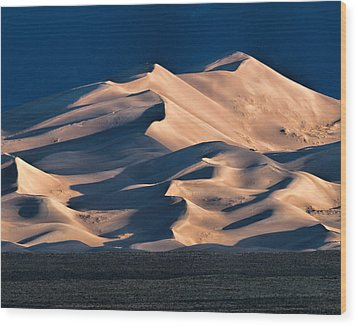 Illuminated Sand Dunes Wood Print by Alana Thrower