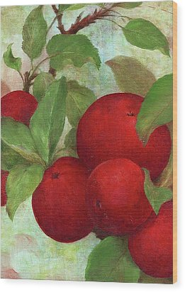 Wood Print featuring the painting Illustrated Apples by Judith Cheng