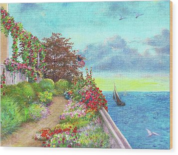 Wood Print featuring the painting Illustrated Beach Cottage Water's Edge by Judith Cheng