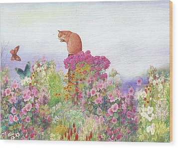 Illustrated Cat In Garden Wood Print