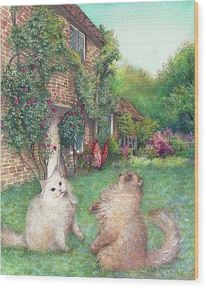 Illustrated Cats In English Cottage Garden Wood Print