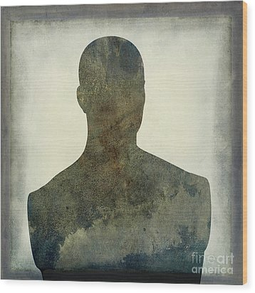Illustration Of A Human Bust. Silhouette Wood Print by Bernard Jaubert