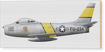 Illustration Of A North American F-86f Wood Print by Chris Sandham-Bailey