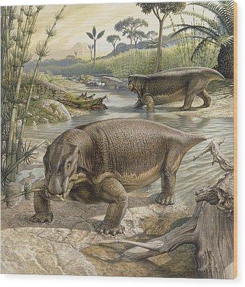 Illustration Of Lystrosaurus Wood Print by John Sibbick