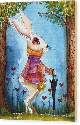 I'm Late Wood Print by Lucia Stewart