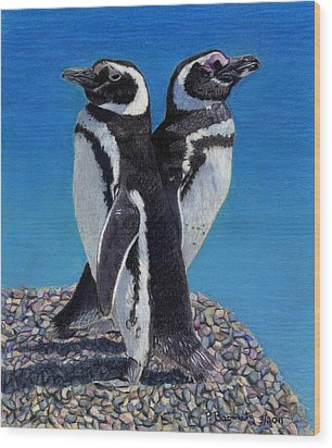 I'm Not Talking To You - Penguins Wood Print by Patricia Barmatz