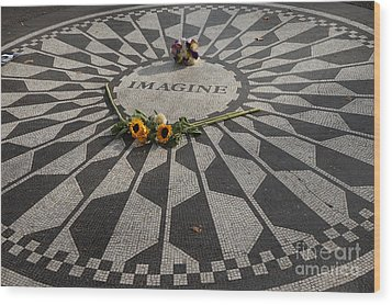 'imagine' John Lennon Wood Print