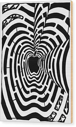 iMaze Apple Ad Maze Idea Wood Print by Yonatan Frimer Maze Artist