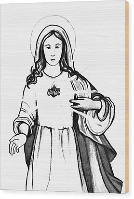 Wood Print featuring the drawing Immaculate Heart Of Mary by Mary Ellen Frazee