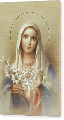 Wood Print featuring the mixed media Immaculate Heart Of Mary by Movie Poster Prints