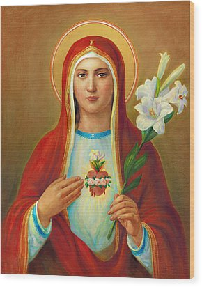 Immaculate Heart Of Mary Wood Print by Svitozar Nenyuk