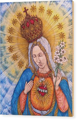 Immaculate Heart Of Virgin Mary Wood Print by Kent Chua