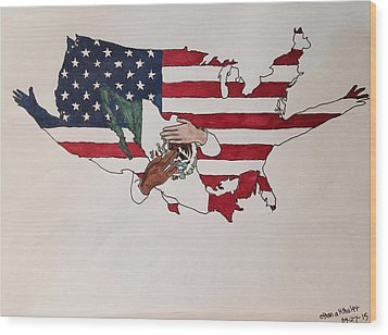 Immigration Wood Print by Ethan Altshuler