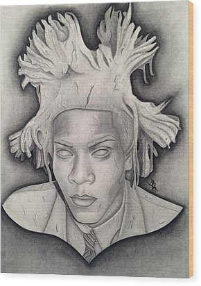 Immortalizing In Stone Jean Michel Basquiat Drawing Wood Print by Angelee Borrero