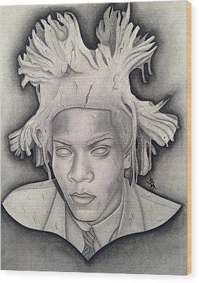 Immortalizing In Stone Jean Michel Basquiat Drawing Wood Print