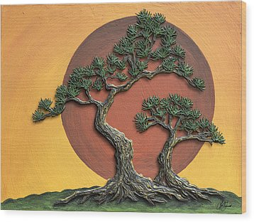 Impasto - Bonsai With Sun - One Wood Print by Lori Grimmett