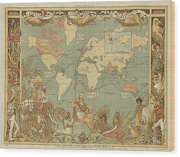 Wood Print featuring the digital art Imperial Map by Digital Art Cafe