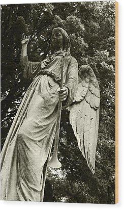 Imposing Angel Wood Print by Brigid Nelson