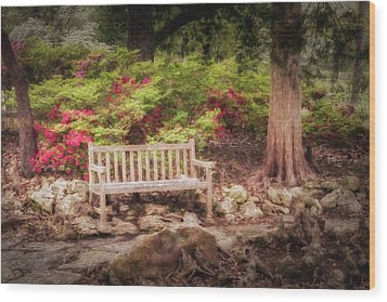 Wood Print featuring the photograph Impressionist Bench by James Barber